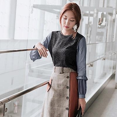 荷葉袖拼接網紗針織上衣-OB大尺碼