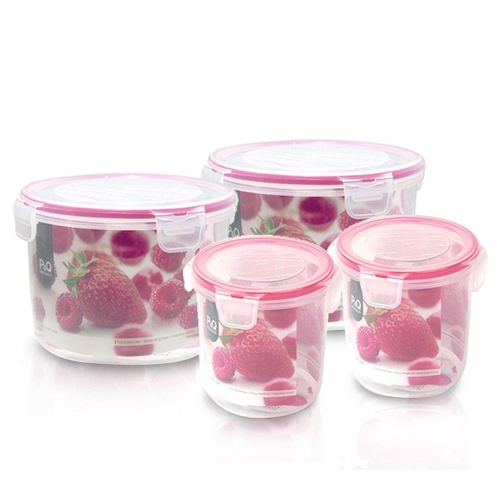 樂扣樂扣 草莓甜心P&Q微波PP保鮮盒4件組(快)