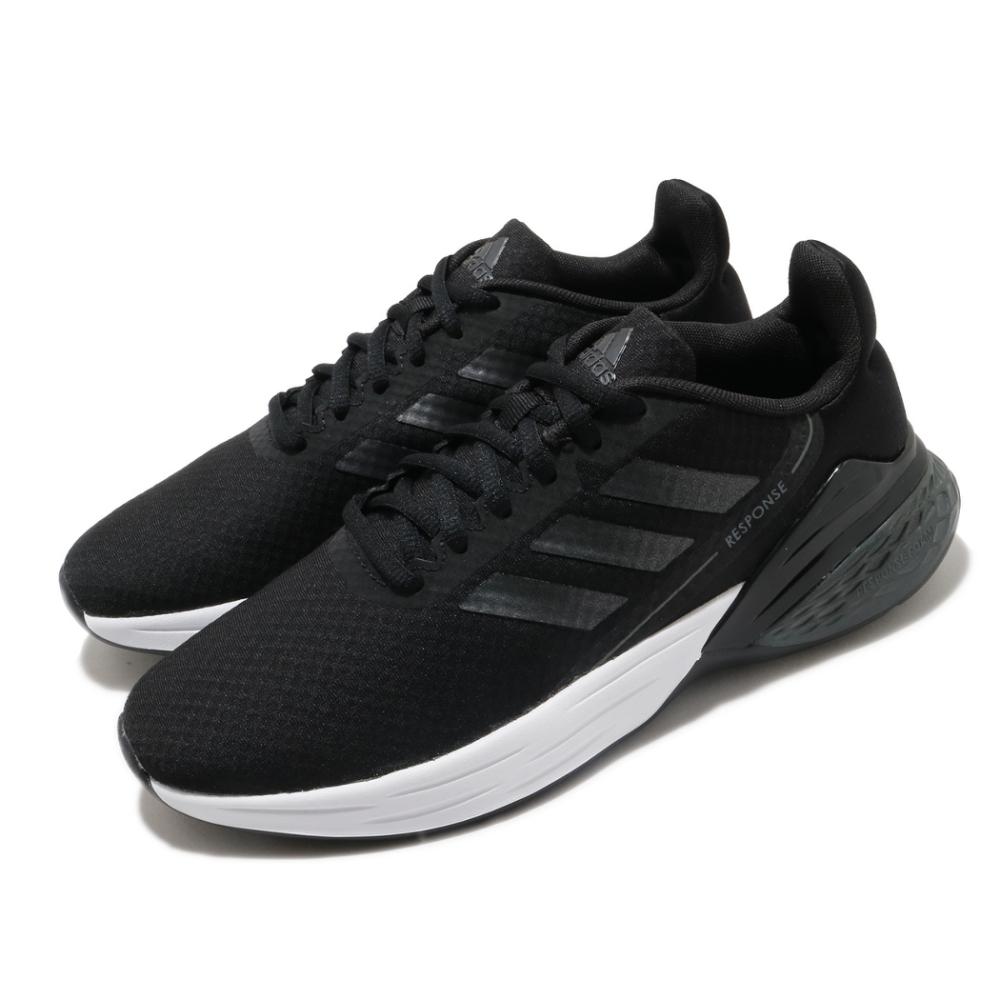 adidas 慢跑鞋 Response SR 運動 女鞋 愛迪達 輕量 透氣 舒適 避震 路跑 黑 白 FX3642