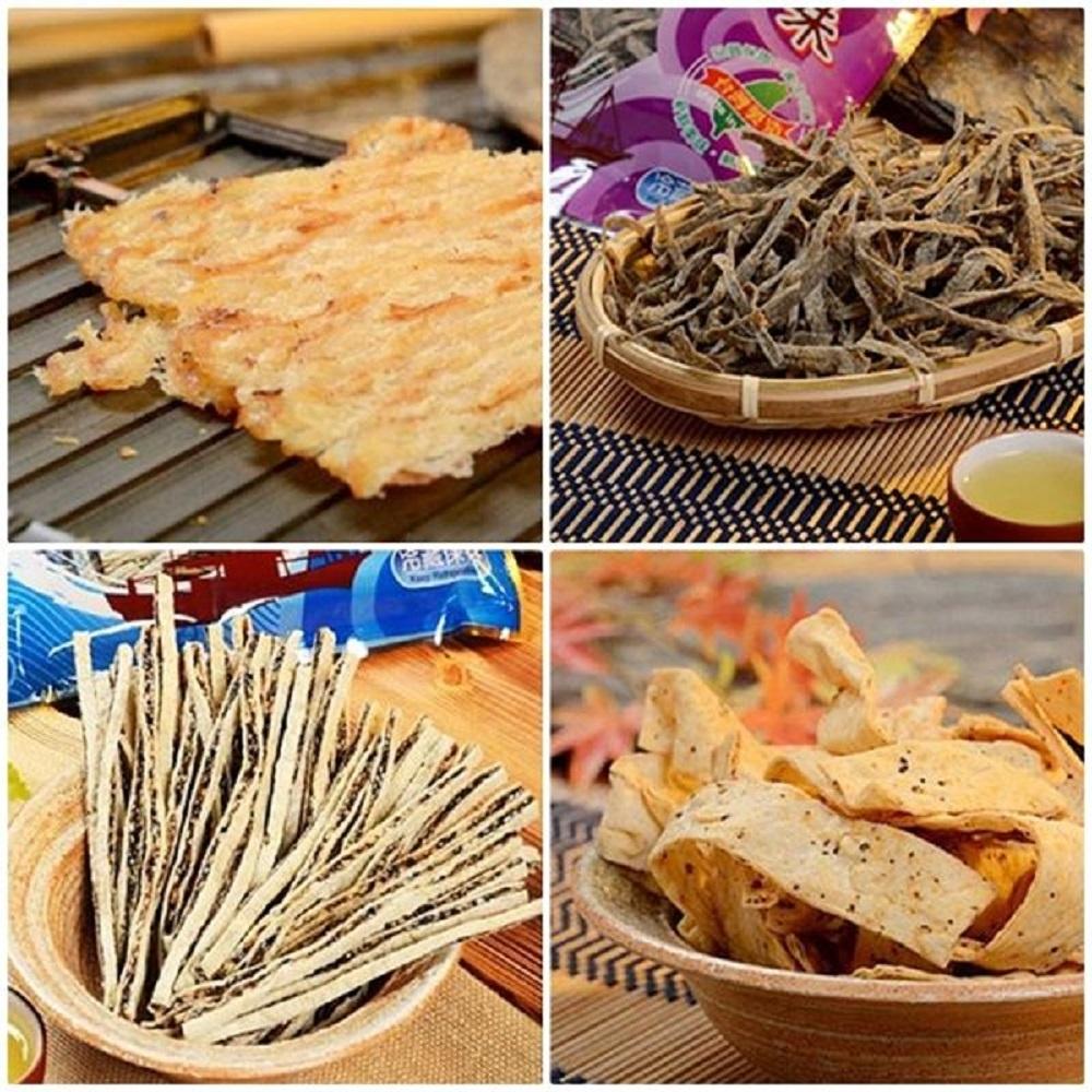 東港華得‧禮盒B(碳烤魷魚片+黑胡椒魚板+黑芝麻鱈魚絲+墨魚香絲)