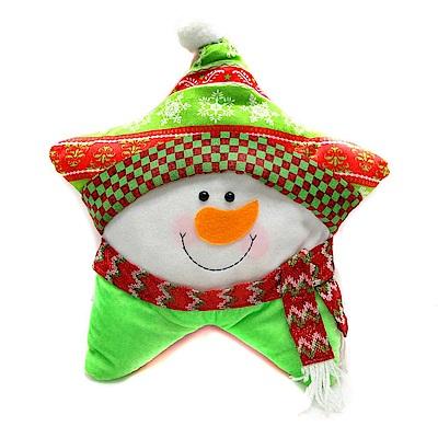 摩達客 超萌聖誕快樂五角星抱枕-圍巾雪人YS-CTD018006