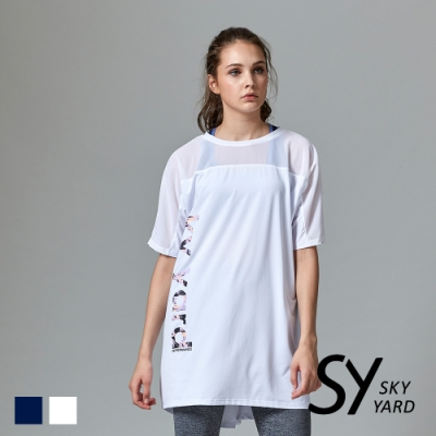 【SKY YARD 天空花園】網紗拼接造型長版休閒上衣-白色