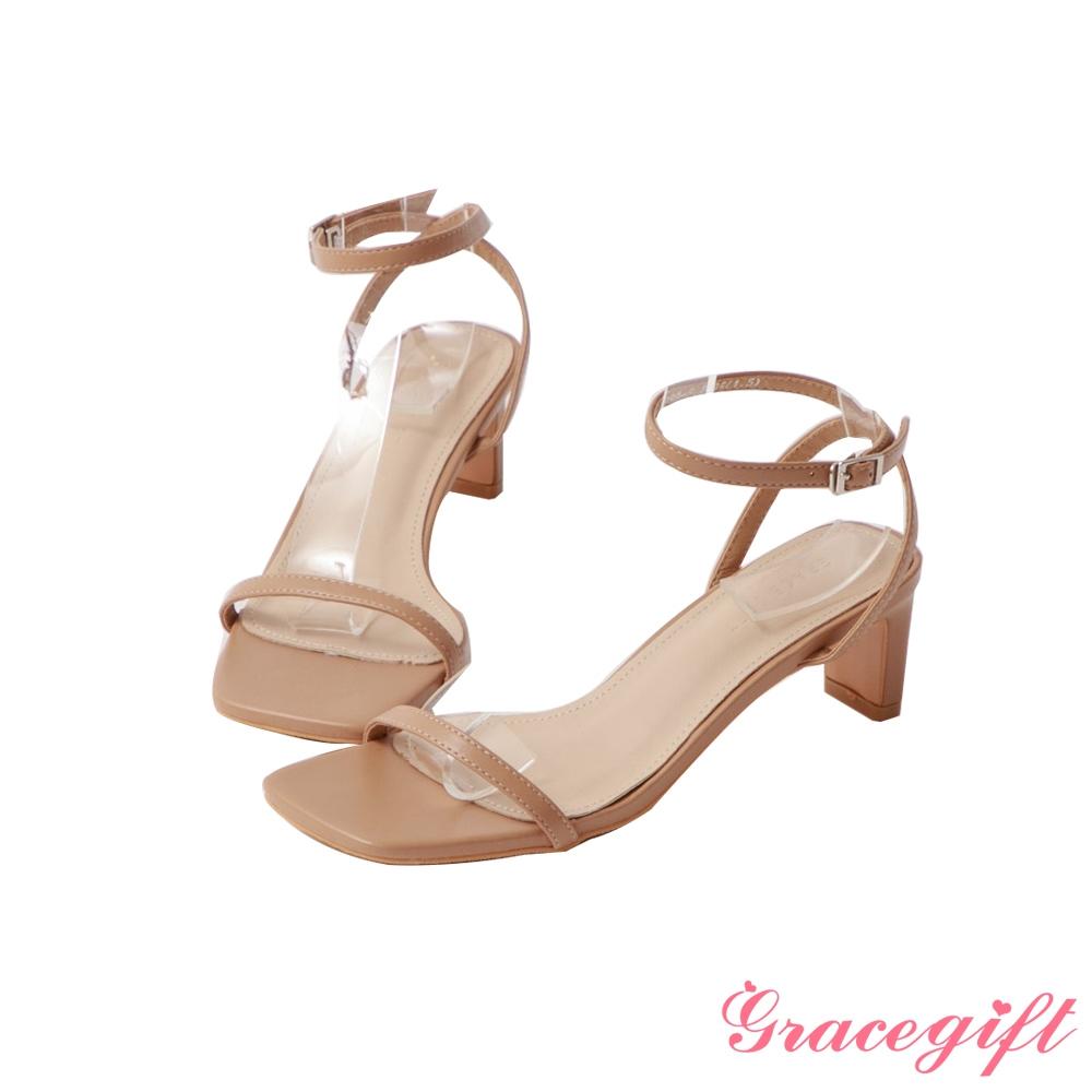 Grace gift-一字繫踝中跟涼鞋 駝