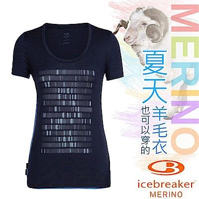 Icebreaker 女款 美麗諾羊毛 TECH-LITE 圓領短袖休閒上衣_夜藍