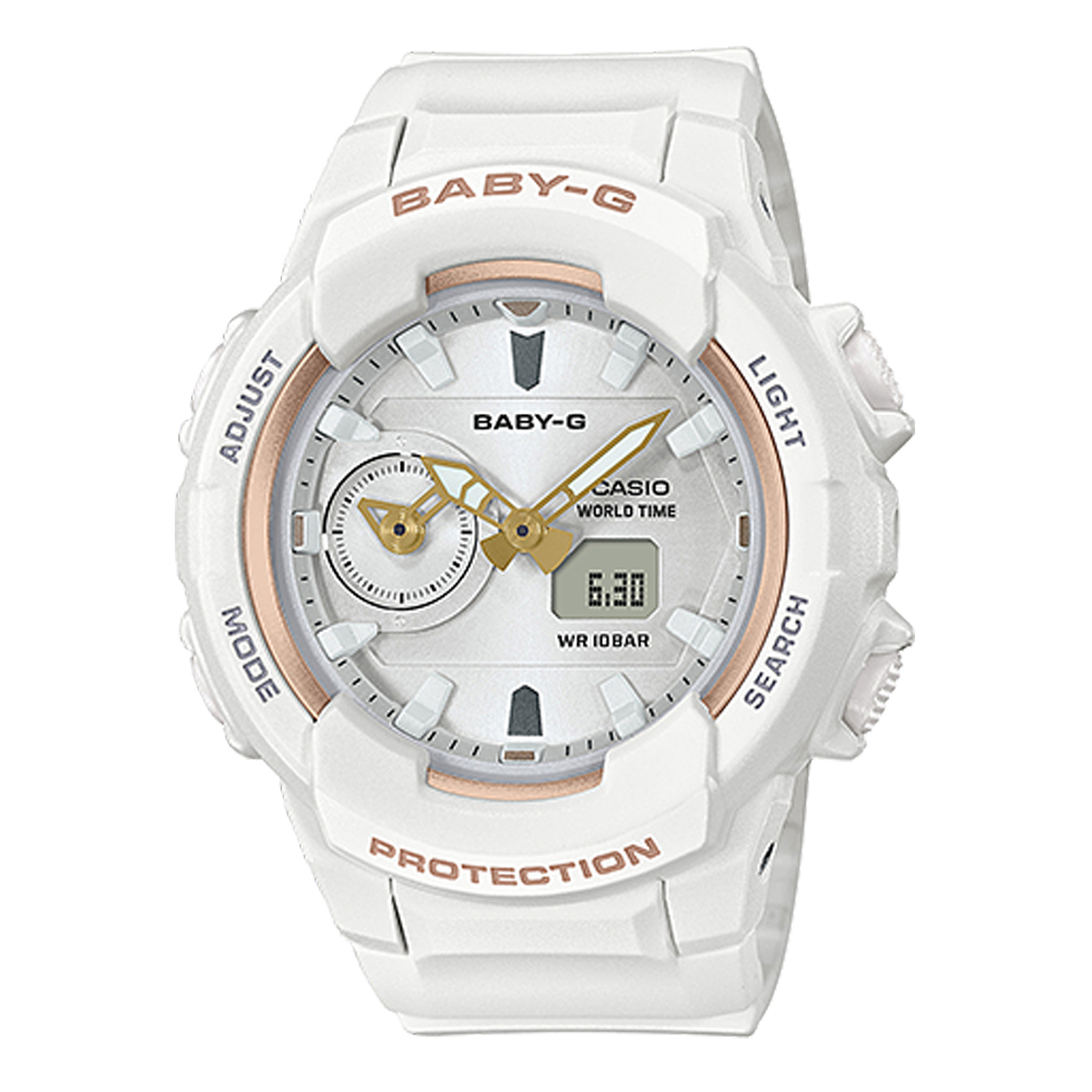BABY-G簡約時尚玫瑰金色系愛冒險旅行女孩休閒錶(BGA-230SA-7白42.9mm