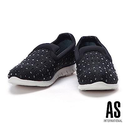 休閒鞋 AS 閃爍耀眼雙色晶鑽設計厚底休閒鞋-黑