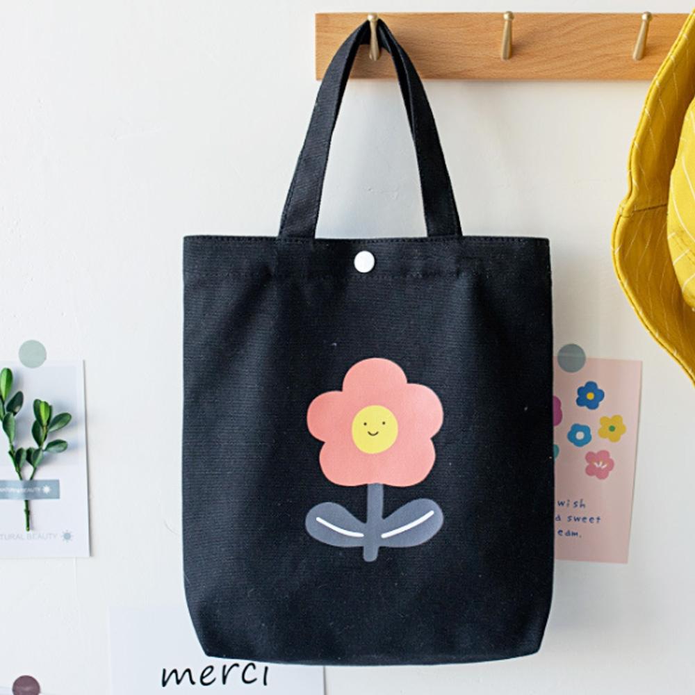 【素包包】可愛日系花朵圖案便當小物手提袋(4色任選)