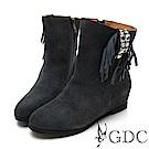 GDC-真皮秋冬時尚水鑽高端流蘇中筒靴-灰色