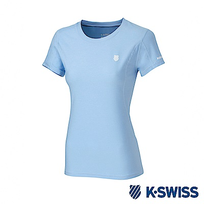 K-SWISS  PF Melange Tee排汗T恤-女-水藍