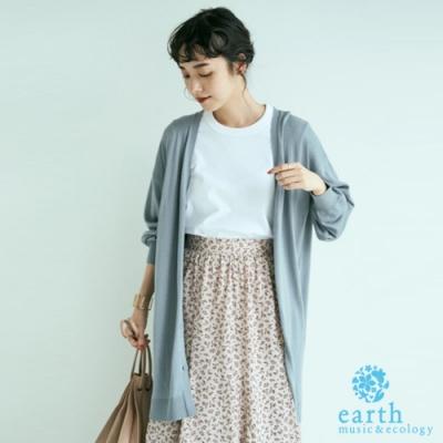 earth music 基本款落肩V領開襟長版罩衫