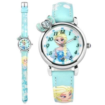 Disney 迪士尼 冰雪奇緣 ELSA 蝴蝶結 兒童卡通 皮革手錶-水藍色/30mm