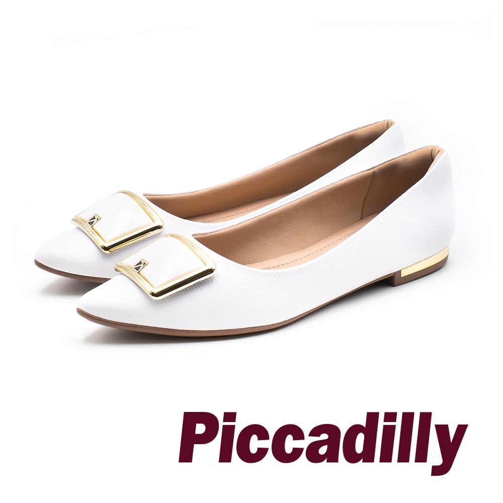 Piccadilly 時尚登場 尖頭方釦低跟淑女鞋 -白(另有黑)