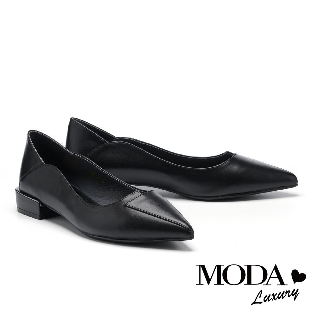 低跟鞋 MODA Luxury 極簡素雅質感剪裁拼接尖頭低跟鞋-黑