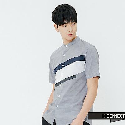 H:CONNECT 韓國品牌 男裝-撞色色塊短袖襯衫-灰