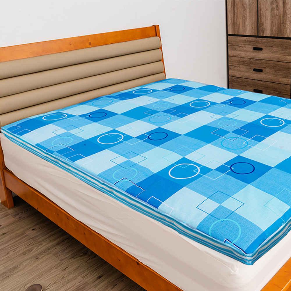 經典時尚英格蘭風格格紋冬夏兩用雙人床墊 - 天藍格紋