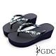 GDC-夏日繽紛水鑽厚底夾腳拖鞋-藍色 product thumbnail 1