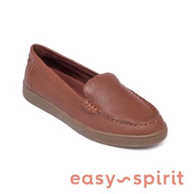 Easy Spirit-seRACER 舒適百搭款 素面百搭真皮樂福鞋-咖啡色