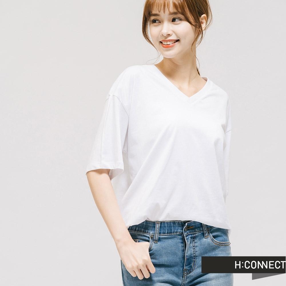 H:CONNECT 韓國品牌 女裝 -V領純色棉質T-shirt - 白
