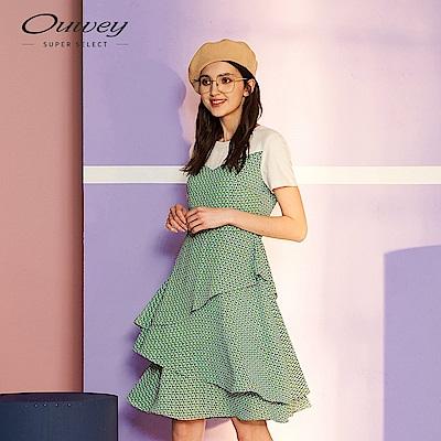 OUWEY歐薇 千鳥印花多層次洋裝(綠)