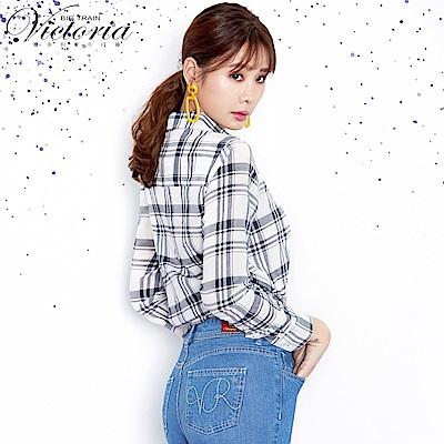 Victoria 休閒中長版襯衫-女-白底藍直條