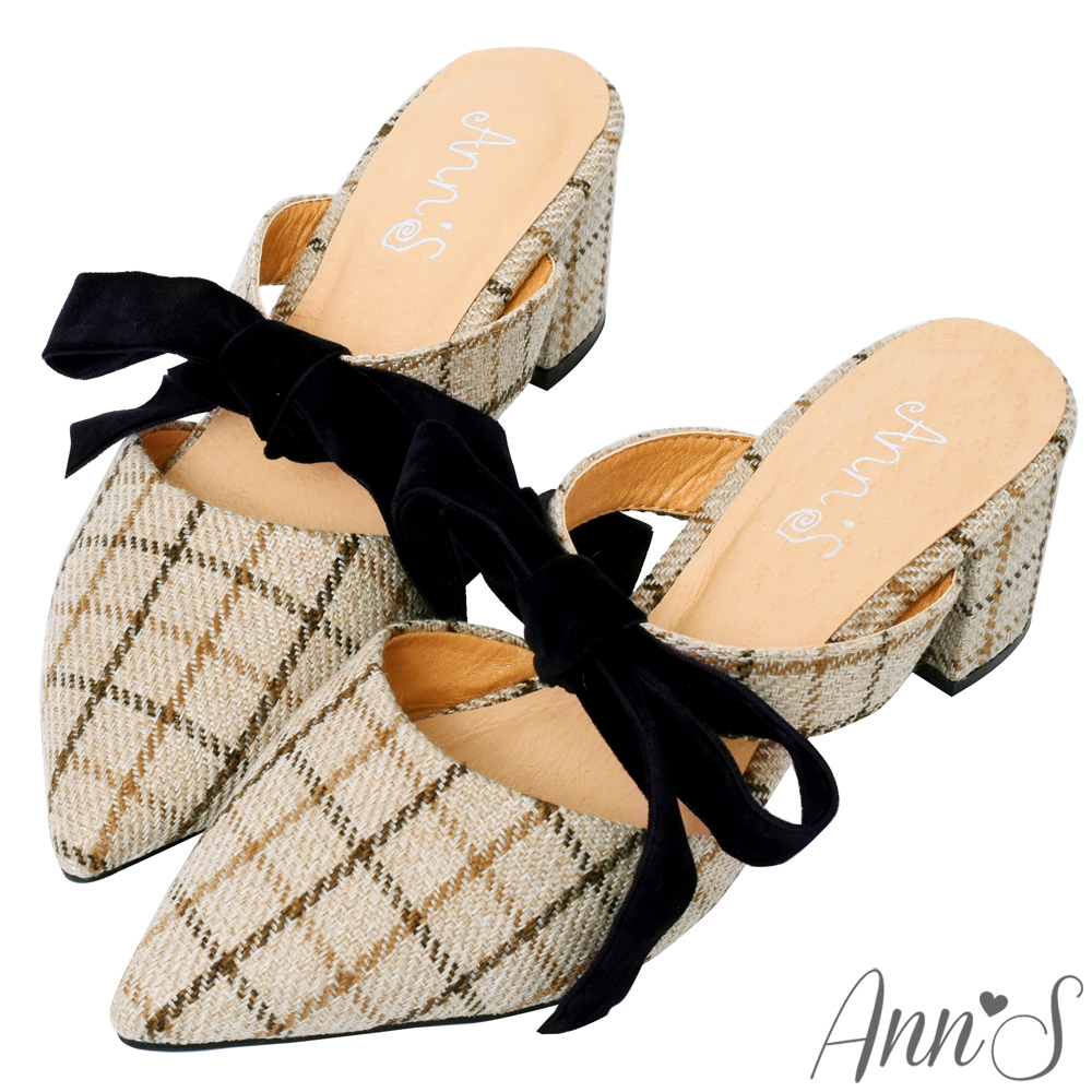 Ann'S春季感格紋-蝴蝶結2way粗跟穆勒鞋-米(版型偏小)