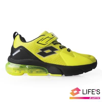 LOTTO 義大利 童 VOLARE RUN 氣墊跑鞋 (螢黃)