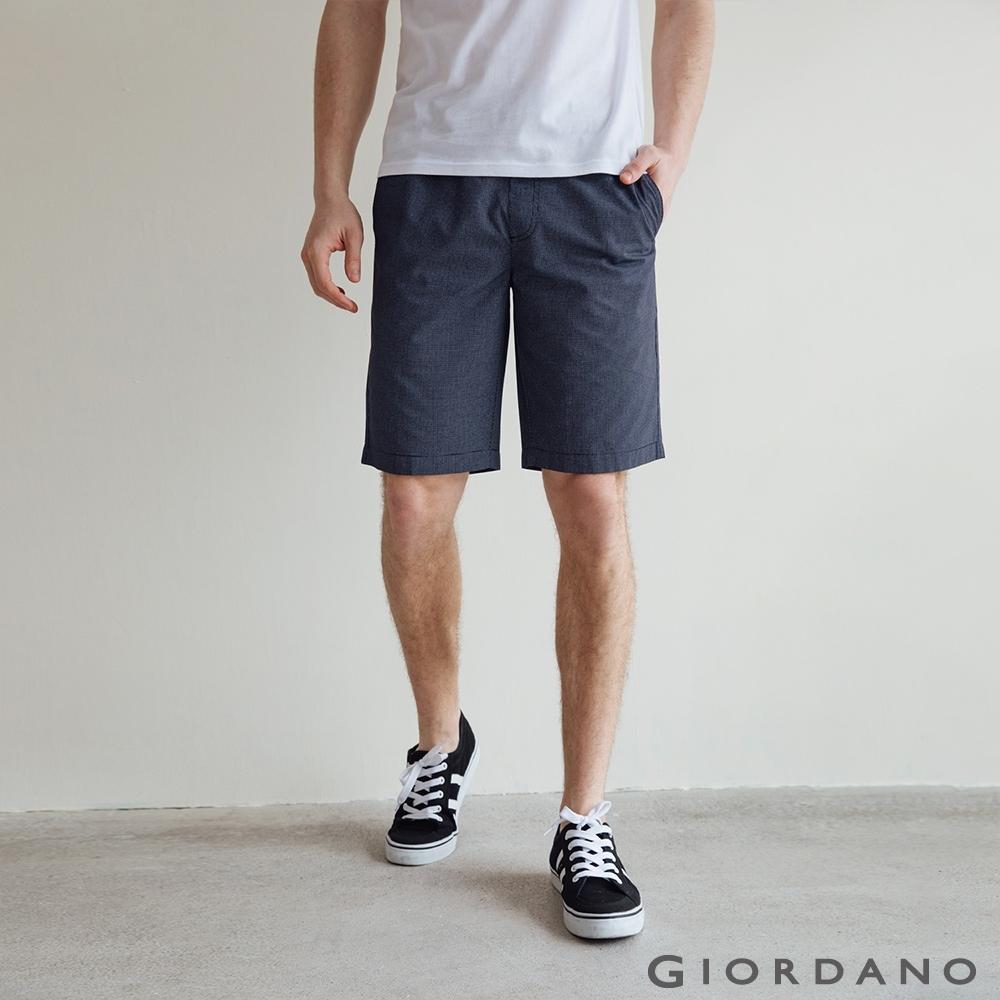 GIORDANO 男裝天然棉休閒短褲 - 98 標誌海軍藍x標誌白
