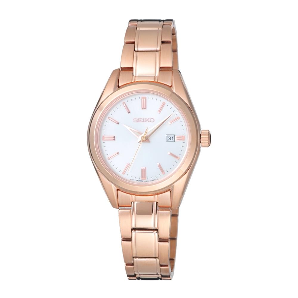 SEIKO 經典時尚品味腕錶-玫瑰金X白(SUR630P1)30mm