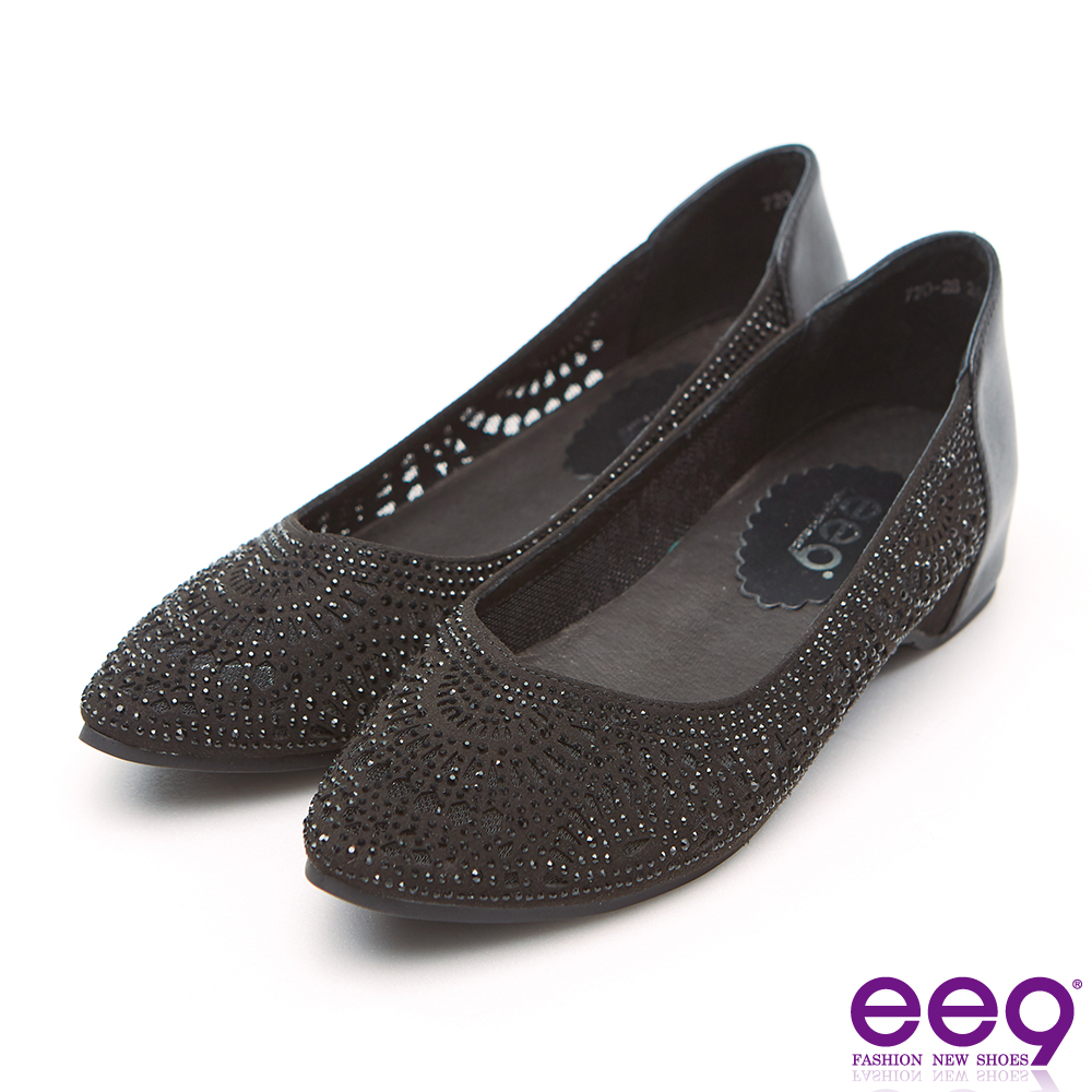 ee9 MIT經典手工鐳射鏤空亮鑽內增高超軟娃娃鞋 黑色