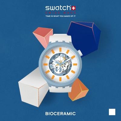 SWATCH 生物陶瓷 BIG BOLD 系列手錶 BLITE 晴空白-47mm