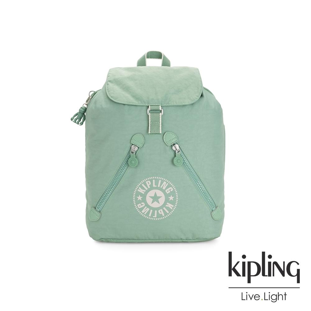 Kipling 清新薄荷綠抽繩束口後背包-FUNDAMENTAL NC