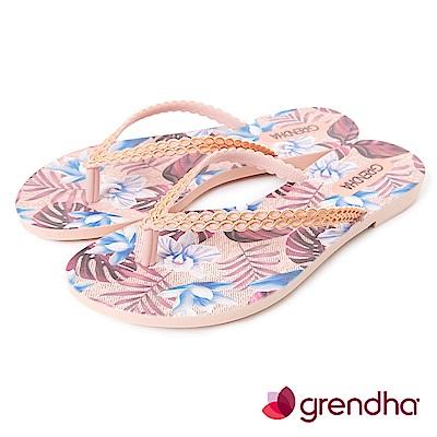 Grendha 熱帶雨林草編紋人字帶夾腳鞋-藕色