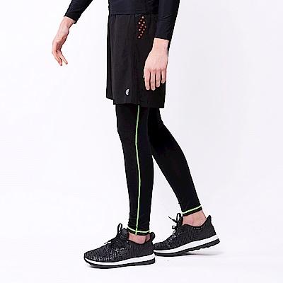 【KENBOO】男款運動緊身長褲-黑淺綠