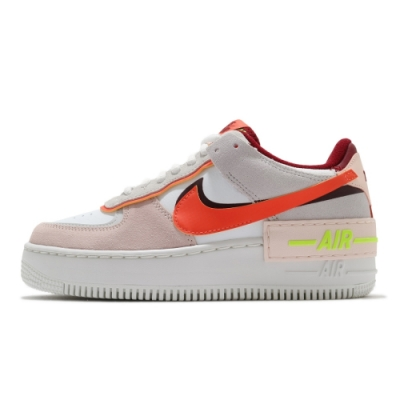 Nike Air Force 1 Shadow 女 休閒鞋 厚底 白粉橘-CU8591600