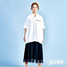 gozo 趣味號誌布標細肩網紗洋裝(墨綠)
