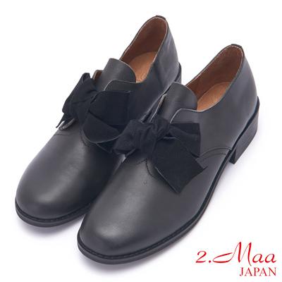 2.Maa 可愛蝴蝶結羊皮紳士跟鞋 - 黑