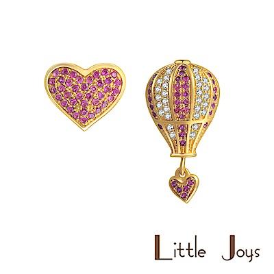 Little Joys 原創設計品牌  粉紅心型熱氣球鋯石耳釘 925銀鍍金