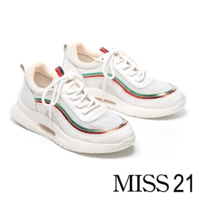 休閒鞋 MODA Luxury 街頭潮流流線反光漆皮條厚底休閒鞋-白
