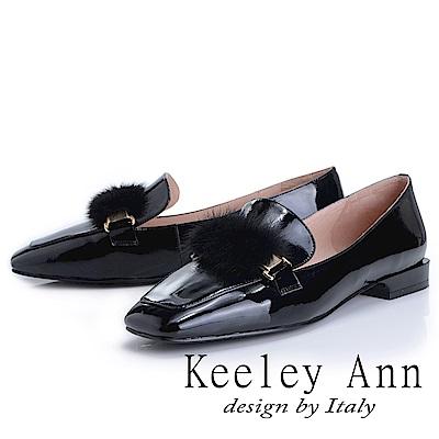Keeley Ann 都會美感~貂毛方頭全真皮樂福鞋(黑色-Ann)