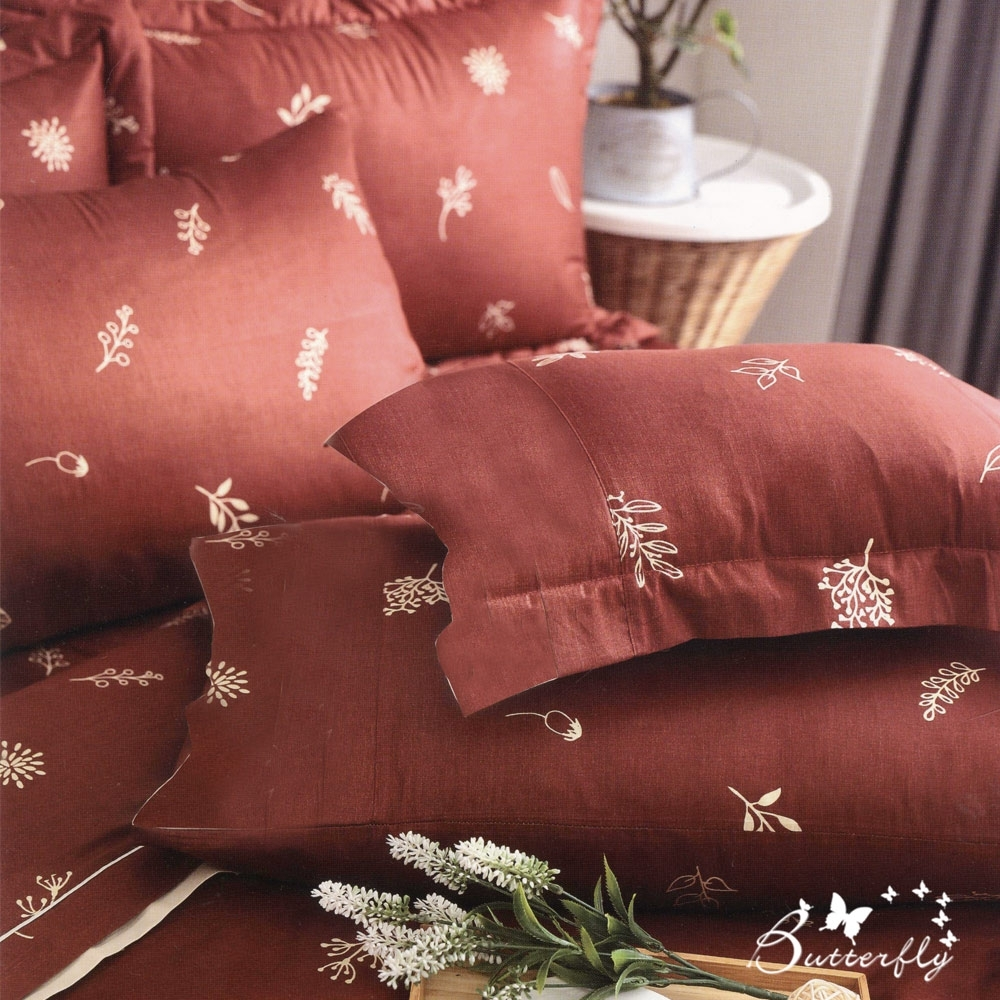BUTTERFLY-台製40支紗純棉-雙人6x7尺鋪棉兩用被-文青葉葉-紅