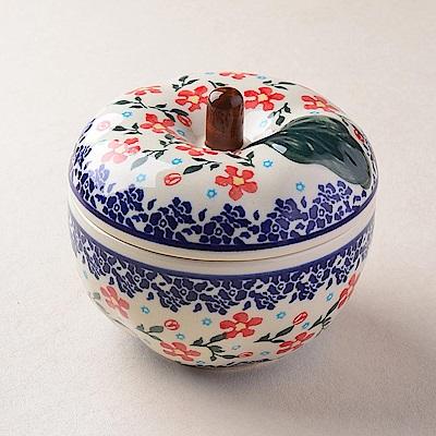【波蘭陶 Zaklady】波蘭陶 藍印紅花系列 蘋果烤盅(含蓋) 450ml