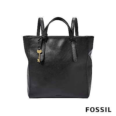 FOSSIL CAMILLA 俐落簡約手提真皮小方包-黑色