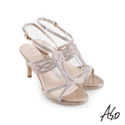 A.S.O 時尚流行 優雅時尚燙鑽腳踝帶細跟涼鞋-金