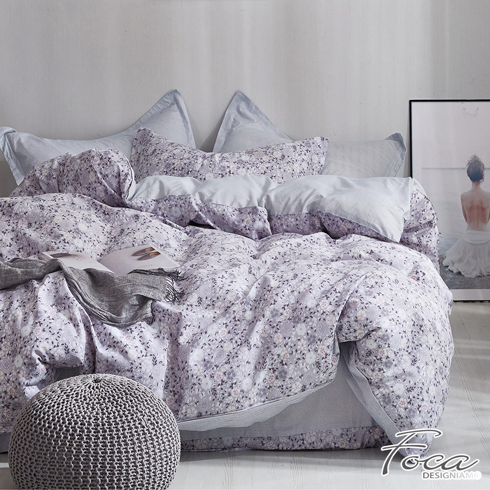 FOCA煙雨宜花-單人-100%精梳純棉三件式兩用被床包組