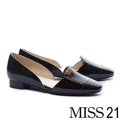 低跟鞋 MISS 21 時髦視覺真皮拼接設計低跟鞋-黑