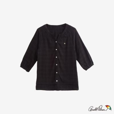 Arnold Palmer-女裝暗細格七分袖開襟襯衫-黑