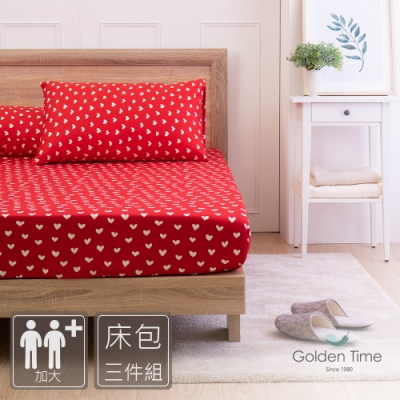 GOLDEN-TIME-繁心紅-200織紗精梳棉三件式床包組(加大)