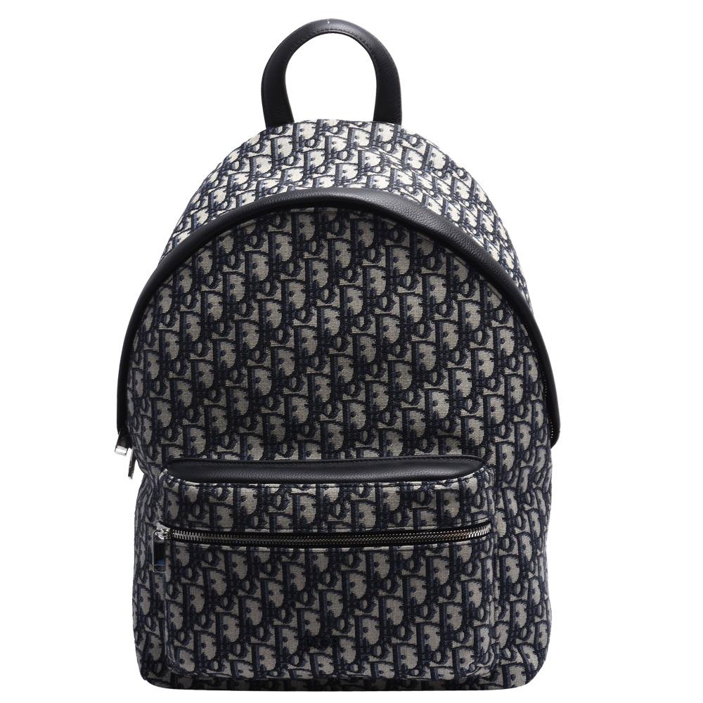 Dior Saddle系列經典OBLIQUE緹花布小牛皮飾邊後背包(藍) @ Y!購物