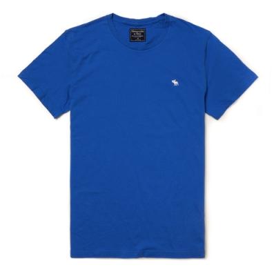 麋鹿 AF A&F 經典圓領電繡麋鹿素面短袖T恤(BONL)-藍色