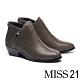 短靴 MISS 21 簡約率性槍色拉鍊牛皮粗高跟短靴-灰 product thumbnail 1
